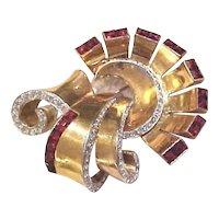 Mammoth Phrygian Cap BOUCHER Retro Modern Art Deco Scrolled Brooch Pin Clip