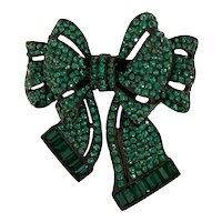 Magical Dark Faux Emerald Japanned Bow Brooch Pin