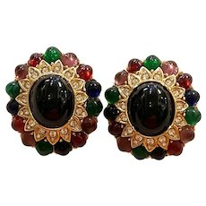 Glamorous 1980s CINER Multicolor and Pave Clear Diamantes Clip Earrings