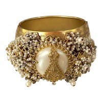 Important DeMario Massive Seed Montee Pearl and Filigree Pearl Hinged Bracelet