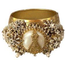 Important DeMario Massive Seed Montee Pearl and Filigree Pearl Hinged Bracelet