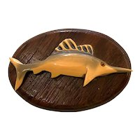 1930s Whimsical Bakelite and Wood Figural TROPHY MOUNTED SAILFISH Brooch Pin