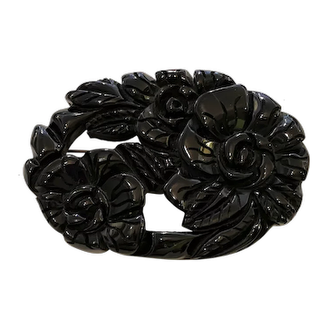 Spectacular 1930s Blackest Black Elaborately Carved Chunky Oval Floral Brooch Pin