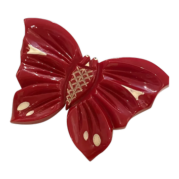 Gorgeous  1930s Figural Brilliant Red Carved Bakelite with Resin Washed White Overdye Detail Butterfly Brooch Pin