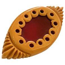 Unusual Cream Red 1930s Bakelite Eye Shaped Brooch Pin