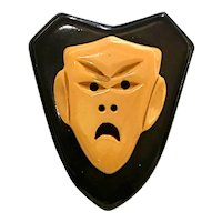 1930s Black and Cream Bakelite Scowling Tragedy Mask Shield Shaped Brooch Pin