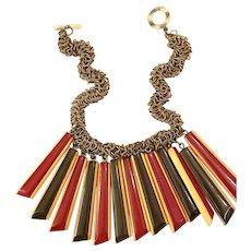 Three Color Laminated Bakelite  Geometric Fabulous Chain Necklace