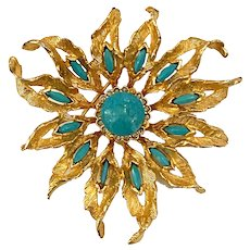 1960s DeNicola Brushed Goldtone  and Faux Turquoise Floral Burst Pin Brooch