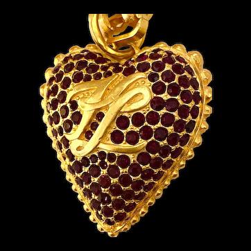 Magnificent 1990s Karl Lagerfeld Matte Goldtone Faux Garnet Heart Pendant Necklace