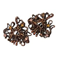 1990s Christian Lacroix Iconic Bronzed Brutalist Style Curlicues Clip Earrings