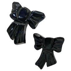 1930s Black Bakelite Figural BOW Screw Back Earrings