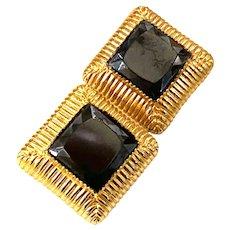 1960s William DeLillo Square Cut Deep Blue Faceted Stone Square Clip Earrings