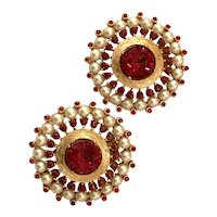 Magnificent 1960s TRIFARI Jewels of India Style Faux Ruby and Pearl Circular Clip Earrings