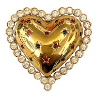 1980s Butler and Wilson Puffy Gold Tone Heart Pin Brooch