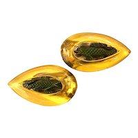 1930s Apple Juice BAKELITE Dress Clip Pair Brooch Pin Figural Green Carved Alligators