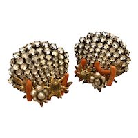 1950s EUGENE Miriam Haskell Style Shell Clip Earrings