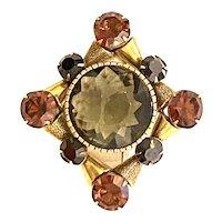 Originals by ROBERT  Huge Crystal Heraldic Style Brass Brooch Pin
