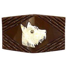 1930s Brown Bakelite Rectangular Belt Buckle with White Celluloid Dog Head Decoration