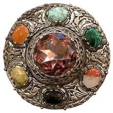 1940s MIRACLE Scottish Revival Kilt Sash Mammoth Crystal Faux Agate Pin Brooch