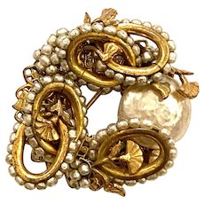 1960s Miriam Haskell Antiqued Gold Tone Baroque Pearl Brooch Pin