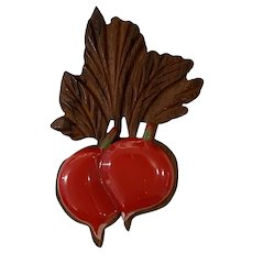 RARE 1930s Wood and RED Bakelite RED Radishes Pin Brooch