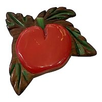 RARE 1930s Wood and RED Bakelite Apple Pin Brooch