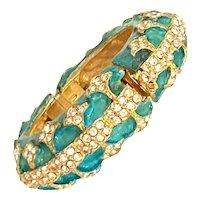K.J.L. Turquoise Enamel Gold Tone and White Rhinestone Hinged Bracelet