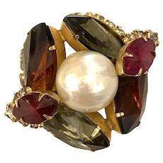 VOGUE Jewelry MILE HIGH Angled Set Pearl and Marquise Rhinestone Brooch Pin