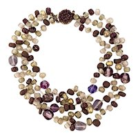 1960s Langani Floating Glass Bead Multistrand Statement Necklace
