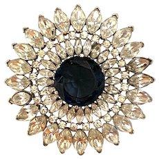 Rare 1940s TRIFARI  Rhodium Faux Sapphire Burst Brooch Pin Alfred Phillipe
