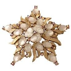 1950s Trifari Textured Gold Tone White Fruit Salad Stonework Star Brooch pin