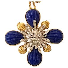 Magnificent 1970s LES BERNARD Faux Lapis Gold Tone and White Metal Dazzling Iron Cross Pendant Necklace Pin Brooch