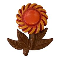 Exotic 1930s Orange Overdyed Bakelite and Wood Sunflower Pin Brooch