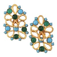 William DeLillo 1960s Turquoise and Faux Emerald Cabochon Twisted Etruscan Goldtone Clip On Earrings