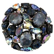Unsigned Regency Warner Style Blue AB Circular Domed Pin Brooch