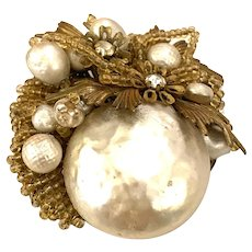 Miriam Haskell Baroque Pearl and Champagne Toned Seed Bead Brooch Pin