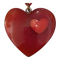 1930s RED Bakelite Heart Pendant Necklace Long Cellulose Chain