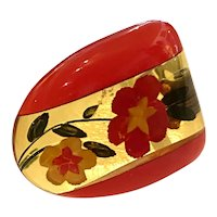 1930s Reverse Carved and Laminated Apple Juice and RED Bakelite Dress Clip