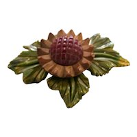 Beautiful 1930s Green Bakelite and Wood  and Bakelite Sunflower Pin Brooch