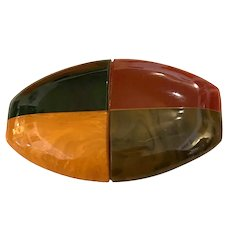 Important Multicolor Bakelite Faux Agate Scottish Kilt Pin Brooch