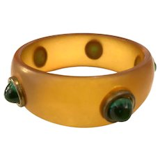 Glorious 1930s Frosted Apple Juice Bakelite Bangle Faux Emerald Bullet Cabochons