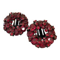 Mysteriously Lovely Japanned Clip On Earrings In Faux Ruby Signed WARNER