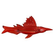 1930s Brilliant Translucent Super RED Bakelite Sailfish Pin Brooch