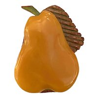 Luscious 1930s Amber Bakelite and Wood Pear Pin Brooch