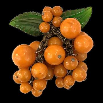 1930s Amber Bakelite Balls Citron Cluster Fruit Brooch Pin