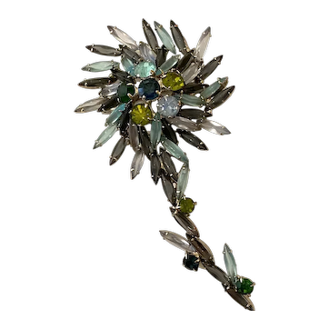 Extra Large Multicolored Elongated Marquise Stone Flower Brooch Pin