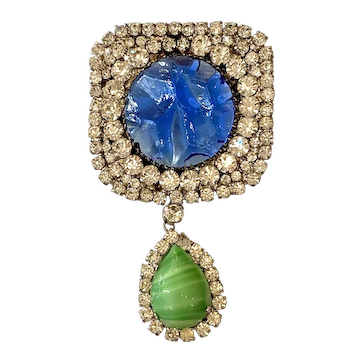 Magnificent 1960s French Mirror Mottled Cabochon Diamante Drop Brooch Pin