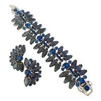 Elegant JULIANA D & E Blue Smoke and Faux Sapphire Rhinestone Bracelet and Earring Set