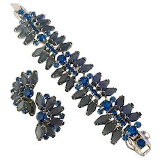 Elegant JULIANA D & E Blue Smoke and Faux Sapphire Rhinestone Bracelet and Earring Set