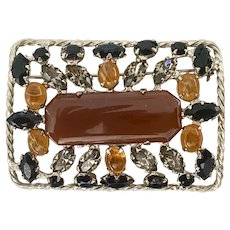 SCHREINER Faux Cinnabar Rectangular Brooch Pin Amber Black Silvertones